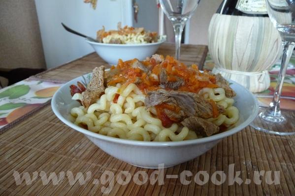 Макароны с мясной подливкой Рецепт очень простой