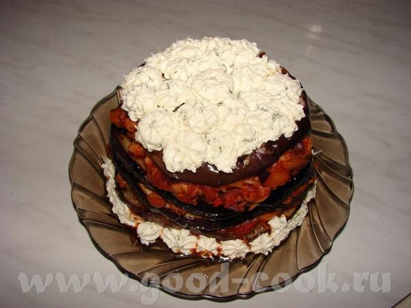 Тортик из баклажана Круглый баклажанчик грех было резать, поэтому решила вот так его приготовить На...