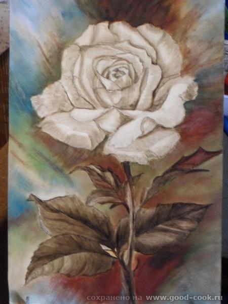 Я тоже решила розу нарисовать в многослойке,вот первый слой умброй,размер 35*50см
