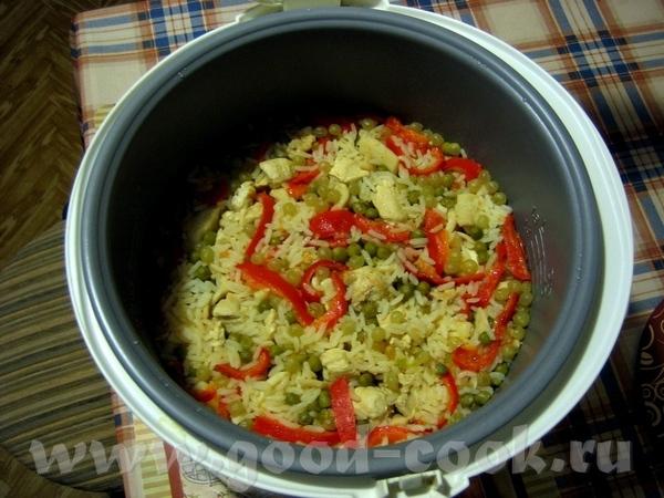 Паэлья Источник - тут Я делала так: 300 г (2 мультистакана) риса (янтарный), 1 куриная грудка 500 г...