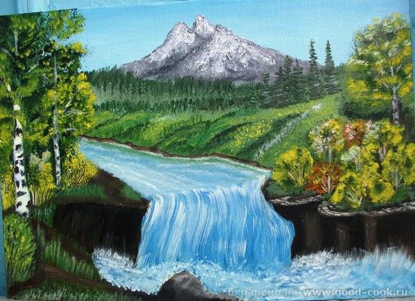 Этот рисунок выполнен по картине Боба Росса. Масло.Холст 25х35.