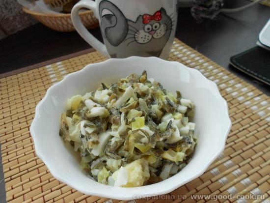 морская капуста с яйцом, болгарским перцем и вареным картофелем