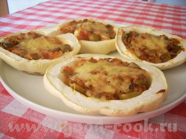 Патиссоны по-итальянски Патиссоны, фаршированные томатами и сосисками (к этой теме не относится, в...