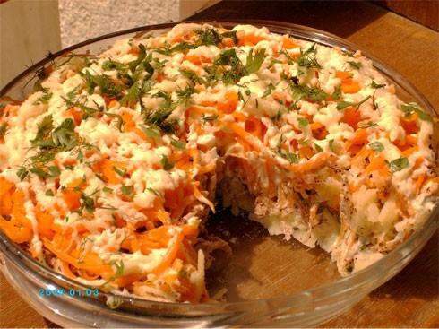 предлагаю салат, который получился у меня из остатков вчерашнего обеда - курицы в маринаде, запечён...
