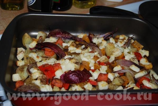Овощи, запечённые в духовке с сыром халлуми