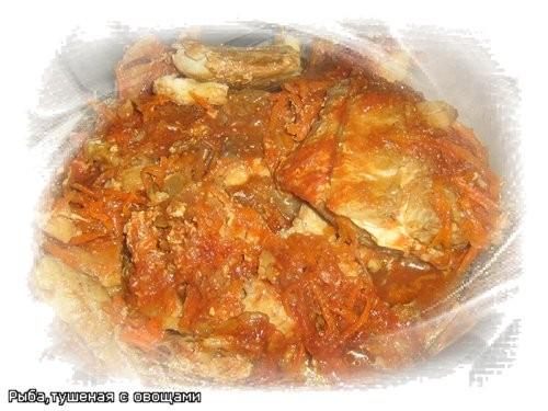 Рыба,тушенная с овощами рыба 1 кг • ( у меня филе скумбрии) бульон рыбный 300 г • (налила воды) мор...