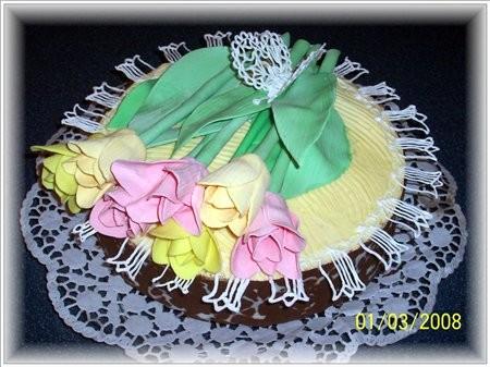 Торт с тюльпанами,сестрёнке на день рождения - 2