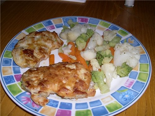 Ну а это наш сегодняшний ужин Салатик Баклажанчики с фасолью И на горячее : Нежные куриные котлетки... - 3