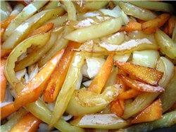 ОВОЩНОЕ СОТЕ С МЯСОМ Нам понадобиться: 2 баклажана, 1 крупная морковь, 2 перца, 1 крупная луковица,... - 4
