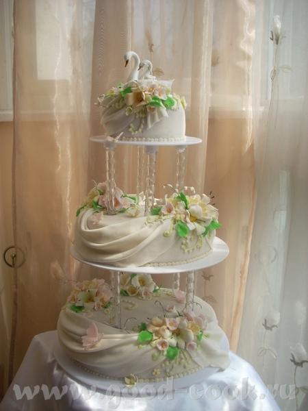 Савдебный тортик с лебедями