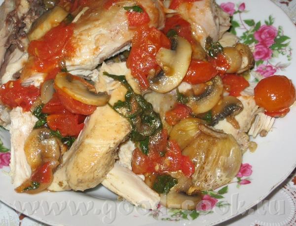 Курица с сушеными помидорами и грибами от Зоя Сушенные помидоры внезапно закончились, пришлось вмес...