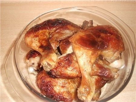 на горячее подавала запеченный картофель ребра и окорочка в соусе барбекю (рецепт соуса брала на на... - 3