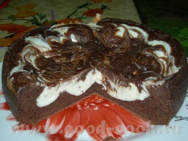 Шоколадно-творожный мраморный пирог Шоколадное тесто 100 г слив
