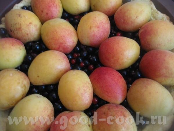 Выкладываем на испеченную заготовку из теста смородину и сверху половинки абрикосов - 3