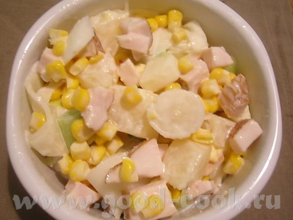 Вот решила приготовить нетипичный для себя салат- я вообще-то предпочитаю из сырых фруктов, овощей,...