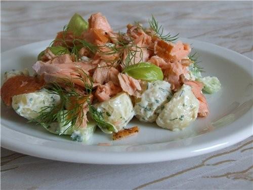 Картофельный салат с копченой рыбой от Джеми Оливера 2 порции: 400 г молодого картофеля (я 500, а т...