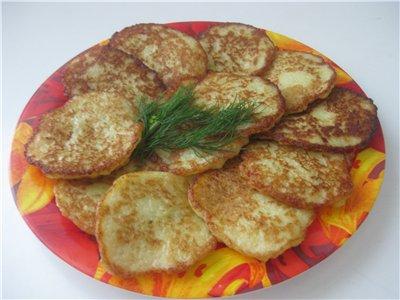 Драники Картофель 7 шт , луковицу , 2 зубчика чеснока - натереть