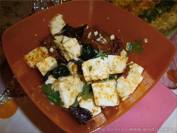 салат с Адыгейским сыром, маслинами и вялеными томатами