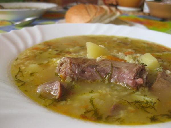 Суп с утиными потрошками