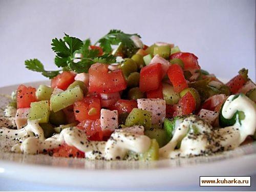 салат с ветчиной и помидорами ветчина 150 г,помидоры 2- шт,огурцы 2 шт свежие и 2 шт маринованные,г...