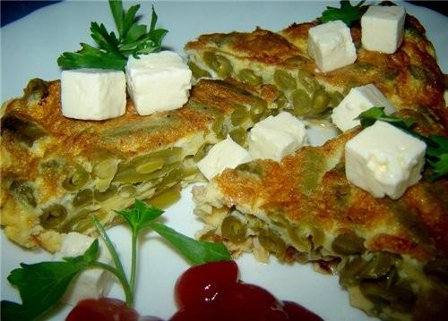Tortilla de Judias Verdes Фасоль зеленая отварная (или консервированая) - 500 г Стебли молодого чес...