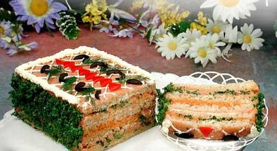 Интересное оформление бутербродных тортов: