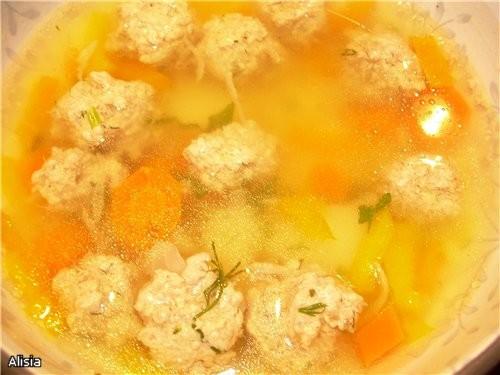 Суп с Фрикадельками из телятины и сладким перцем