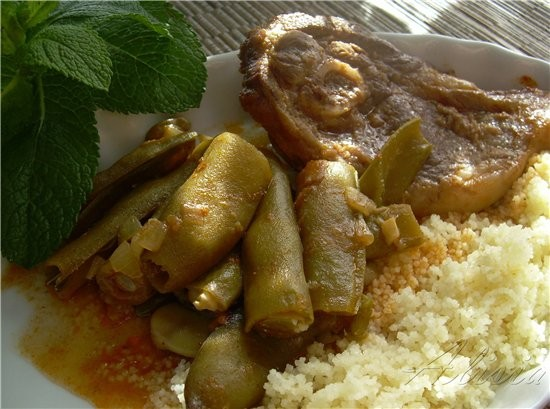 Кус-кус с зелеными бобами и телятиной в Арабском стиле порционно по количеству человек, среднего ра... - 2