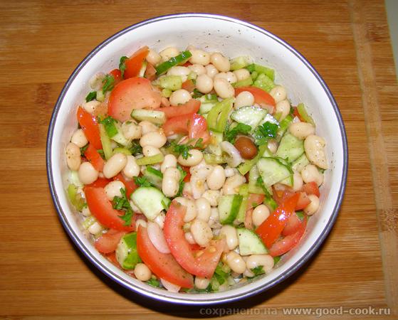 Фасолевый салат - общий вид, готов к употреблению!
