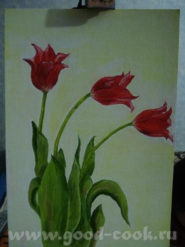 Я от букета отделила 3-и тюльпанчика всего, так как цветы рисовала впервые и хотела, чтоб легче был...