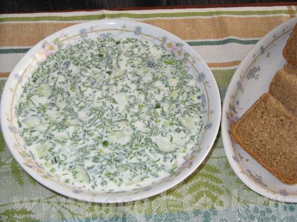 Угощайтесь окрошкой из домашнего йогурта (мацони )