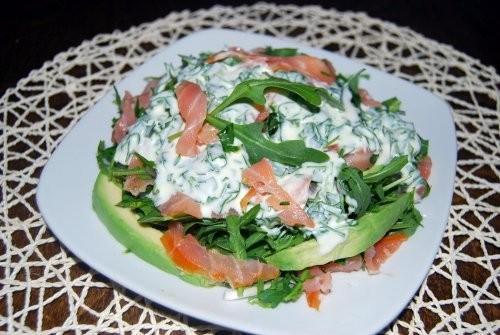 Салат с копчёной сёмгой и рукколой На 4 порции 50 гр - 2