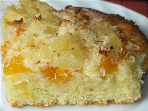 Пирог с ананасами и мандаринами