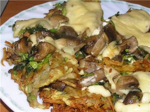 Хрустящие картофельные оладьи (паучки), запеченные с шампиньонами и сыром 5-6 картошек, 0,5 кг шамп...
