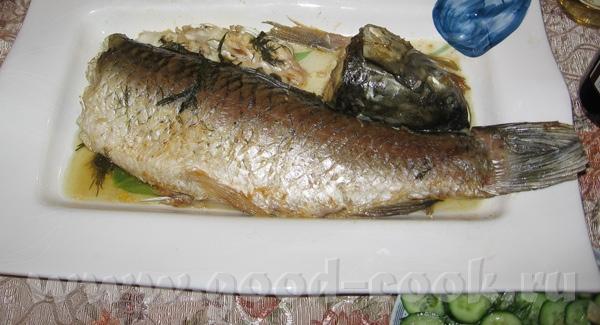Амур запеченый в духовке с зеленью и чесноком под майонезно-горчичной корочкой (Забыла украсить рыб... - 2