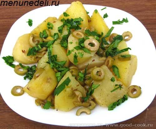 Картофель ьушеный с оливками и лимоном