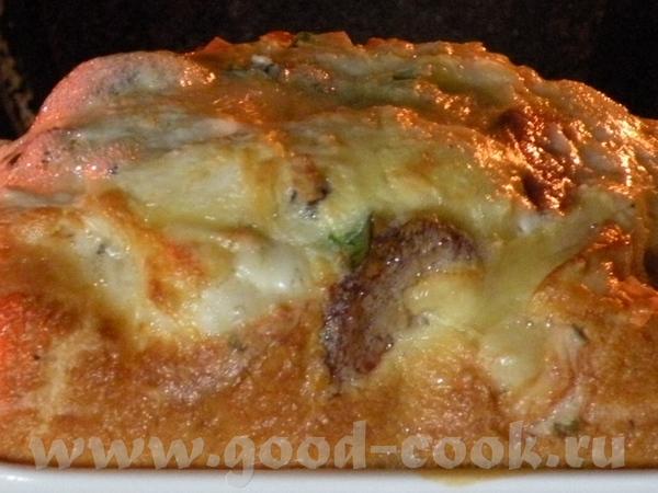 ЗАПЕЧЕНОЕ ЯЙЦО С КОЛБАСКОЙ И ДВУМЯ ВИДАМИ СЫРА БРАЛА: 1 яйцо, по одному кусочку сыра порезанного ме... - 2