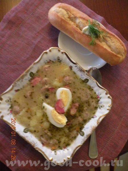 Перекладываем зажарку в суп и вливаем закваску, мешая - 7