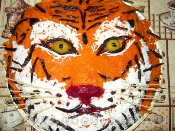 Оформление салата в виде Тигра
