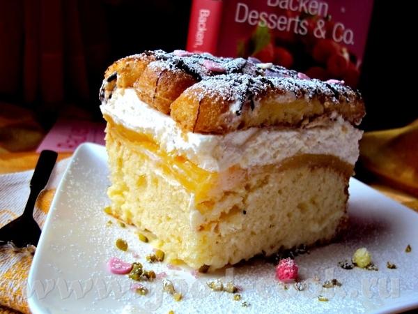 Апельсиновый торт со сливками Сочный торт, который печется на противне, с апельсиновым пудингом и с...