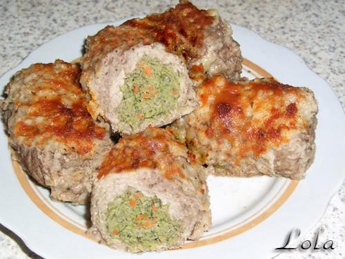 Приготовила сегодня мясные рулетики с овощной начинкой