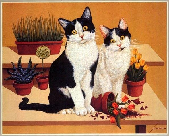 Гляди, КАК эти коты похожи на Твои пионы
