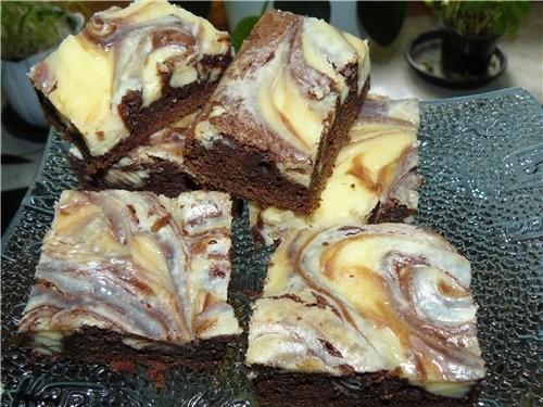МРАМОРНЫЙ ШОКОЛАДНЫЙ ЧИЗКЕЙК - Marmorierte Brownies (Cheesecake-Marbled Brownies) Шоколадное тесто:...