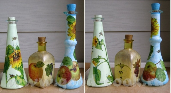 Бутылочки, можно для масла, уксуса, соусов… Зелененькая и желтенькая – бутылки, белый грунт, фрагме...