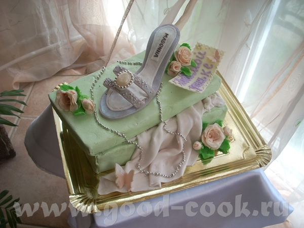 Тортик с босоножком на коробке