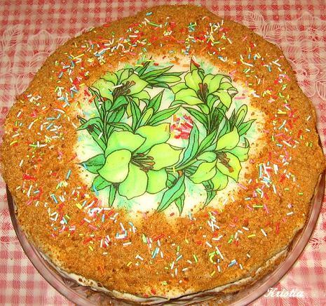 """А на десерт очень вкусный тортик """"Царский"""" от Jazzinitup, пекла вчера вечером, пробовали сегодня"""