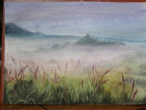 Рисуем пейзаж акварельными