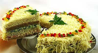 Интересное оформление бутербродных тортов: - 3