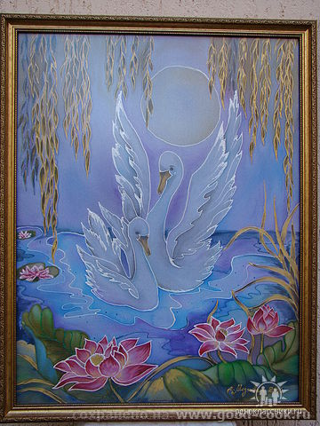 """Холодный батик """"Лебединная верность"""" 2010"""