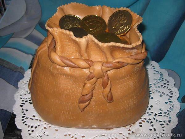 Как сделать мешок с деньгами из мастики